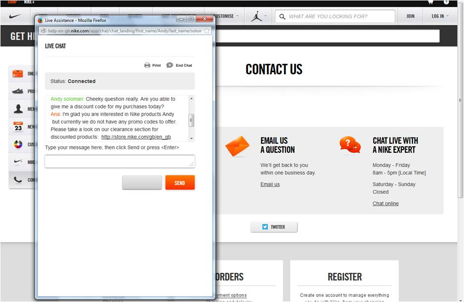 Nike live chat support