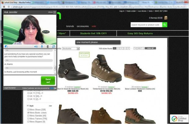 Schuh video live chat support