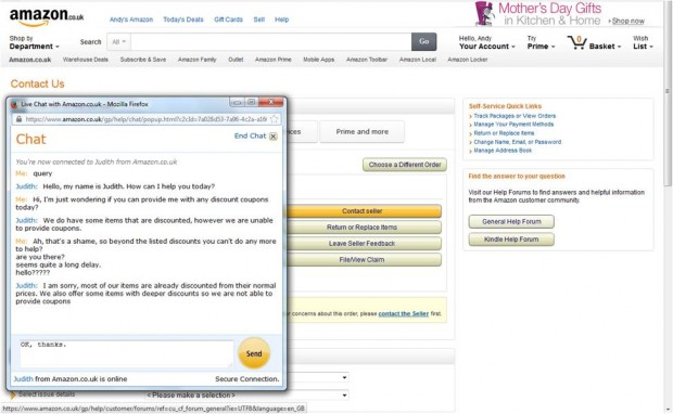 Amazon UK live chat service dialogue